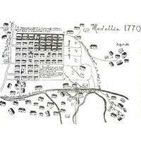 Map of Medellin made by anonymous author in the eighteenth century