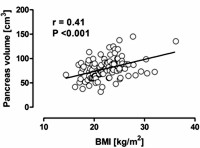 Relationship between BMI and pancreas volume