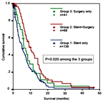 Overall survival following endoscopic stent placement and/or palliative surgery