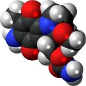 Image: Space-filling model of the mitomycin molecule