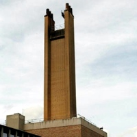 Image: The 80-metre high chimneys at Addenbrooke's Hospital